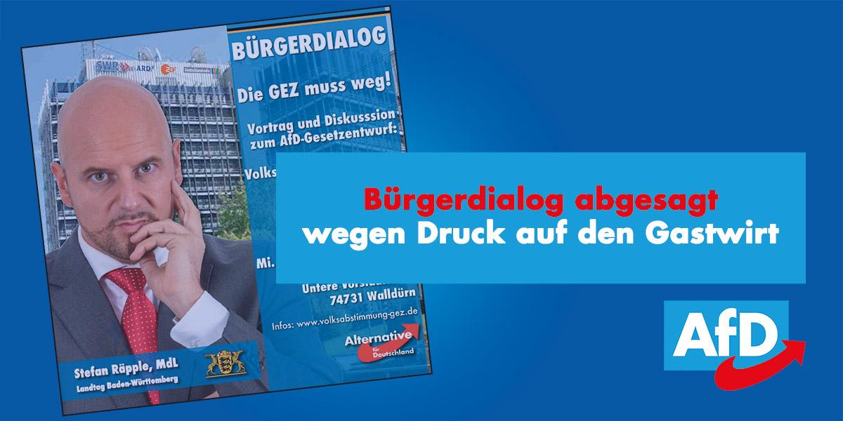Bürgerdialog zum Rundfunkbeitrag (GEZ) in Walldürn abgesagt
