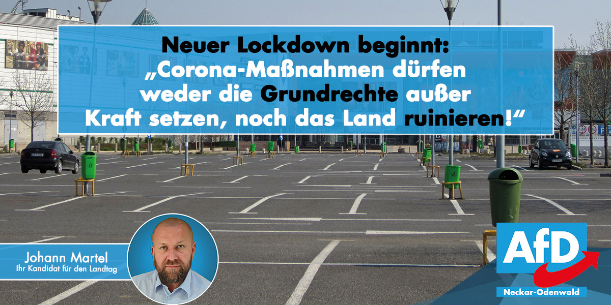 Landtagskandidat Johann Martel gegen unverhältnismäßige Corona-Maßnahmen