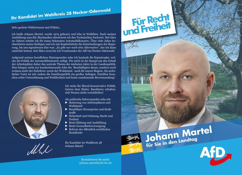 """Landtagswahl 2021 - Flyer WK 38 """"Johann Martel"""""""