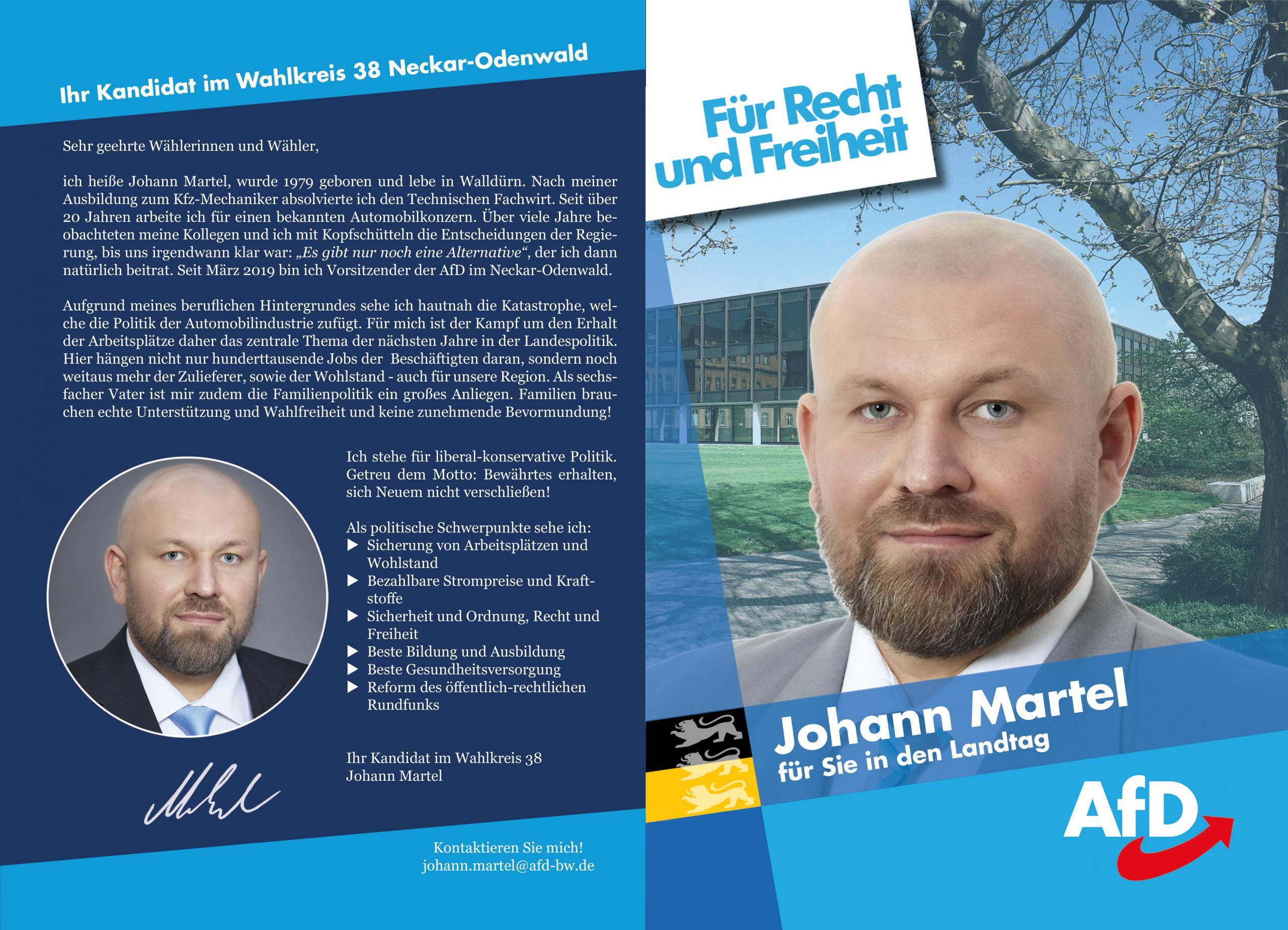 Flyer zur Landtagswahl 2021 für den Wahlkreis 38 Neckar-Odenwald
